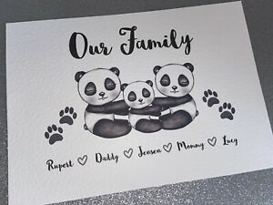 Personalised A4 Family Tree Print Panda Bear - Family Print Unique Gift