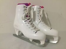Lake Placid Ice Skates Figure Skates White w/Fuchsia & Magenta Girl's Size 5