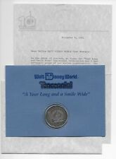 Disney World 10th Anniversary Coin,envelope,letter (Cast Member Exclusive) 1981