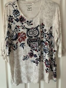 LADIES MULTI OWL RHINESTONE PATTERNED TOP BLOUSE UK SIZE 20-22 GREAT CONDITION