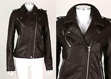 NWT BAGATELLE Dark Brown Faux-Leather Buckle Motorcycle Jacket Size XL MSRP $495