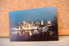 VINTAGE POSTCARD ~THIS IS PITTSBURGH BY NIGHT~IRON CITY BEER WAS BORN HERE....~