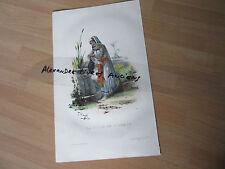 GRAVURE 1840 LA FILLE DE L'ARABE  litho aquarellée