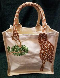 Hand Paint Personalised Giraffe Jute Beach Travel Hessian Midi Novelty Gift (L)