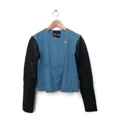 VEDA Leather Jacket S Blue Black Denim Cotton Combo Women's Coat Small NWT