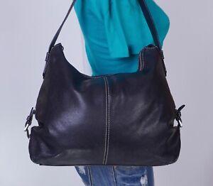 MICHAEL KORS Large Black Leather Shoulder Hobo Tote Satchel Purse Bag