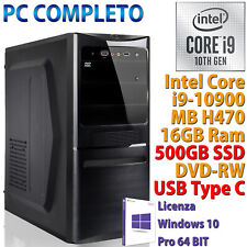 PC COMPUTER DESKTOP ASSEMBLATO CORE i9-10900 RAM 16GB SSD 500GB NVMe WINDOWS 10