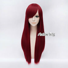 Women's Long Straight 70CM Wine Red Fashion Anime Party Cosplay Wig + Free Cap