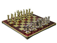 """GREEK METAL CHESS SET RED HANDMADE ROMAN BOARD PIECES MADE IN GREECE 18"""" 500R"""