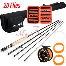 Fly Fishing Rod Reel Combo Portable 9Ft 5/6Wt Compelete Kit Line Flies Case