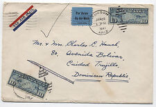 1941 Tucson AZ  Dominican Republic airmail cover returned for postage  C7 [1272]
