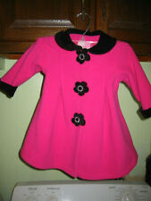 18 Months Girls Pink and Black Fleece Coat by Sophie Rose