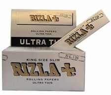5 BOOKLETS RIZLA SILVER KING SIZE SLIM ROLLING PAPERS