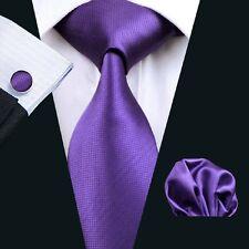 New Purple Men's Necktie Solid Plain Tie Set Hanky Cufflinks Party Wedding C-281