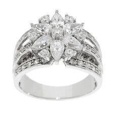 QVC Epiphany Ring Diamonique 1.35 cttw Mixed Cut Flower Size 9