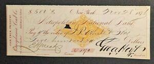 ANTIQUE 1876 PENNSYLVANIA COAL CO $500 CHECK -GREAT COLLECTIBLE!-d4805unx