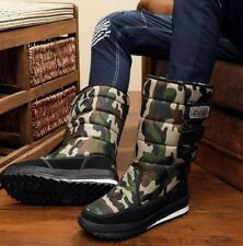 Men Camo Pull On Mid Calf Shoes Military Warm Fur Lining Snow Boots Plus Size