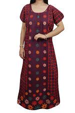"Indiatrendzs Women Maxi Nighty Maroon Printed Sleepwear Cotton Night Wear 44"""