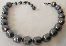 VINTAGE MIRIAM HASKELL SIGNED LARGE DARK GRAY BAROQUE PEARL NECKLACE