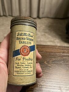 Vintage F. W. McNess Round Worm Tablets TIN Tube Poultry