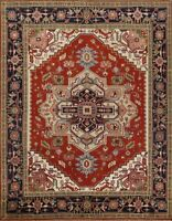 Geometric Heriz Serapi Hand-Knotted RUST/NAVY Oriental Area Rug Wool Carpet 8x10