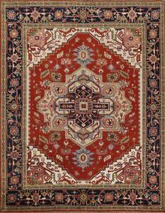 Geometric Heriz Serapi Hand-Knotted RUST/NAVY Oriental Area Rug Wool Carpet 8x10
