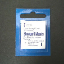 Showgard Stamp Mounts Size E 22/25 BLACK Background Package of 40