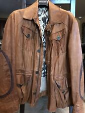 Roberto Cavalli Mens Distressed  Brown Leather Jacket Size L Mint Condition