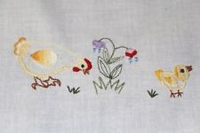 Hens & Baby Chicks Family & Daffodils! Vtg German Easter Tablecloth