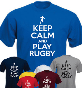 KEEP CALM AND PLAY RUGBY Funny Gift T-shirt Present
