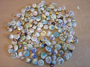 Large estate collection antique victorian porcelain hand painted floral buttons