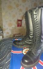 Gay/interest /Skinhead new Mens Grinders Black Leather 20 Eyelet boots size 7 UK