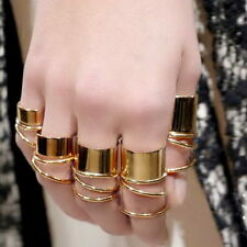 9PCS Gold Tone Punk Wide Band Ring Stack Plain Knuckle Midi Mid Rings Set KL