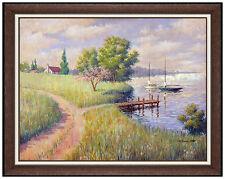 Arthur Sarnoff Oil Painting On Canvas Sailboats Seascape Signed Illustration Art