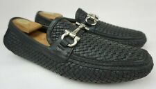 Salvatore Ferragamo Parigi Driving Shoes Black Woven Bit Loafers Size 11 EE 2E