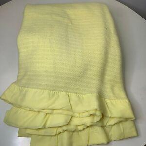 vintage acrylic waffle weave thermal blanket full yellow nylon satin trim