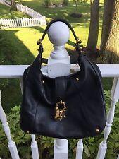 Loewe Calle Black Leather Padlock Shoulder Hobo Satchel Bag-Rare!