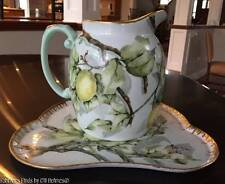 Antique T&V LIMOGES Hand Painted LEMON TREE Large Pitcher and Tray