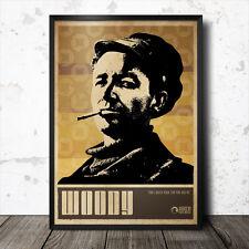Woody Guthrie Folk Music Art Poster 60's Bob Dylan Baez Seeger Joni Mitchell