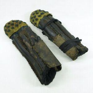 C108: Really old iron Japanese SUNEATE (shin guard) of SAMURAI's armor YOROI