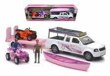New Ray Xtreme Adventure 1:18 Pink Pickup & Atv Trailer W/ Figures Set Ss-37375
