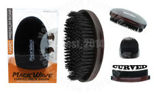 Magic Wave Premium Curved Hard Boar Bristle Hair Brush Wooden Military #WBR003H