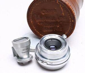 CANON RANGEFINDER SERENAR 35MM F/3.5 LTM LEICA M39 LENS + FINDER, CASE