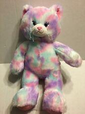 "Build A Bear Pink Purple And Blue Cat 16"" Plush Stuffed Animal"
