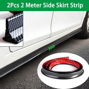 Car Side Skirt Protective Strip Wings Bumper Flexible Rubber Carbon Fiber Color
