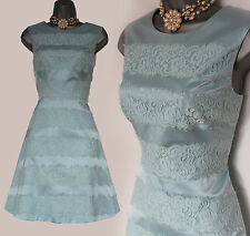 KAREN MILLEN Light Blue Satin Applied Lace Stripe Cocktail Dress 12  EU 40 £170