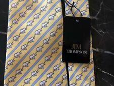 "Jim Thompson New with Tags Silk Twill ""Elephant"" Tie, Lemon & Blue Handmade"