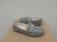 2ae71700199 UGG Seal Grey Deluxe Leather Sheepskin Moccasin Loafers Women US 8  EUR 39