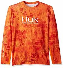 Huk Men's Kryptek Solid Long Sleeve Icon, Kryptek Orange, Xl
