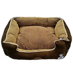 2pc Pet Brown Basket Bed Fleece Soft Comfy Fabric Washable Dog Cat Cosy